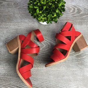 Michael Antonio Block Heeled Red Sandals 6.5